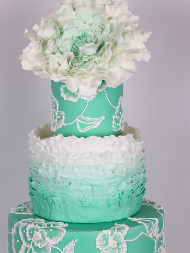 Teal Ruffle Wedding Cake Embroidery