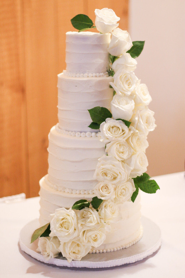 Rustic Buttercream Wedding Cake with Whi