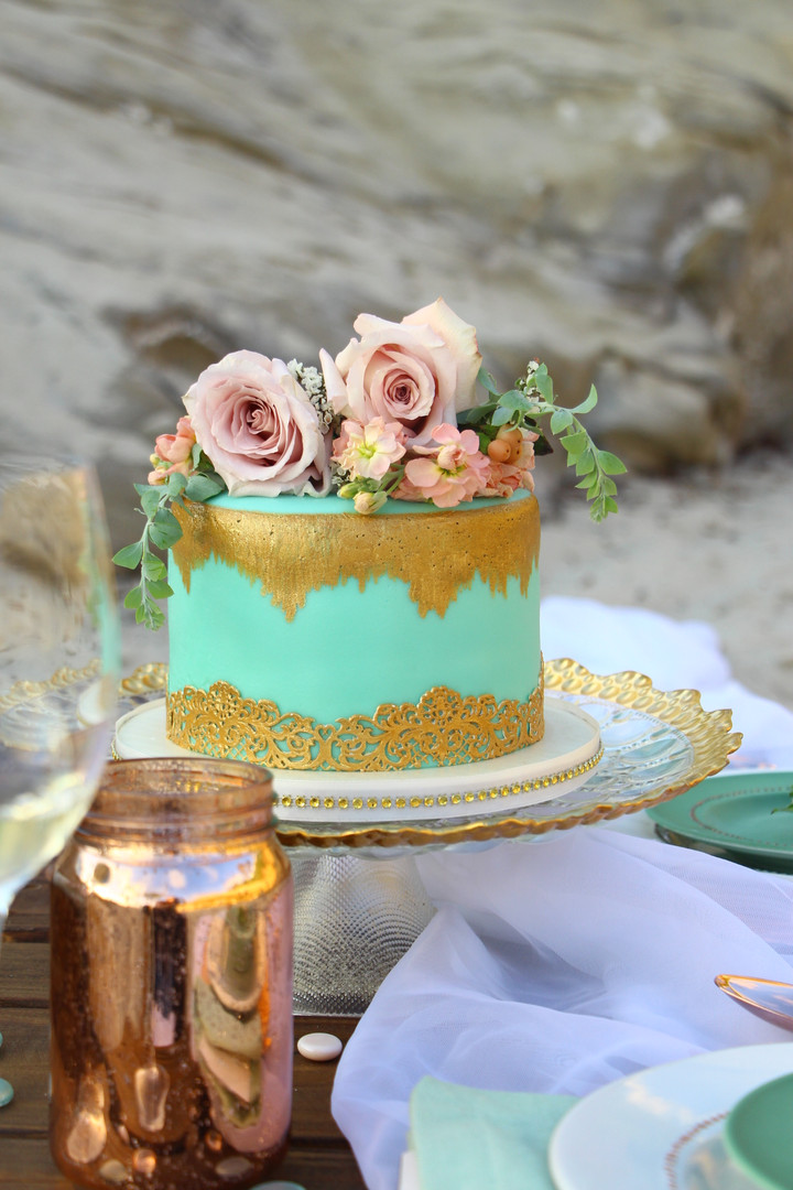 Beach Teal and Gold Cake