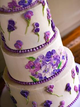 Buttercream Painted Flowers Purple Cake