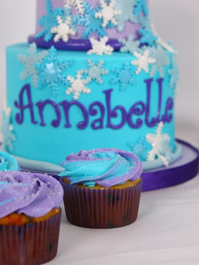 Snowflake Frozen Cupcakes Blue and Purpl