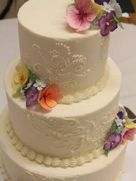 Buttercream Wedding Cake with Sugar Pansies