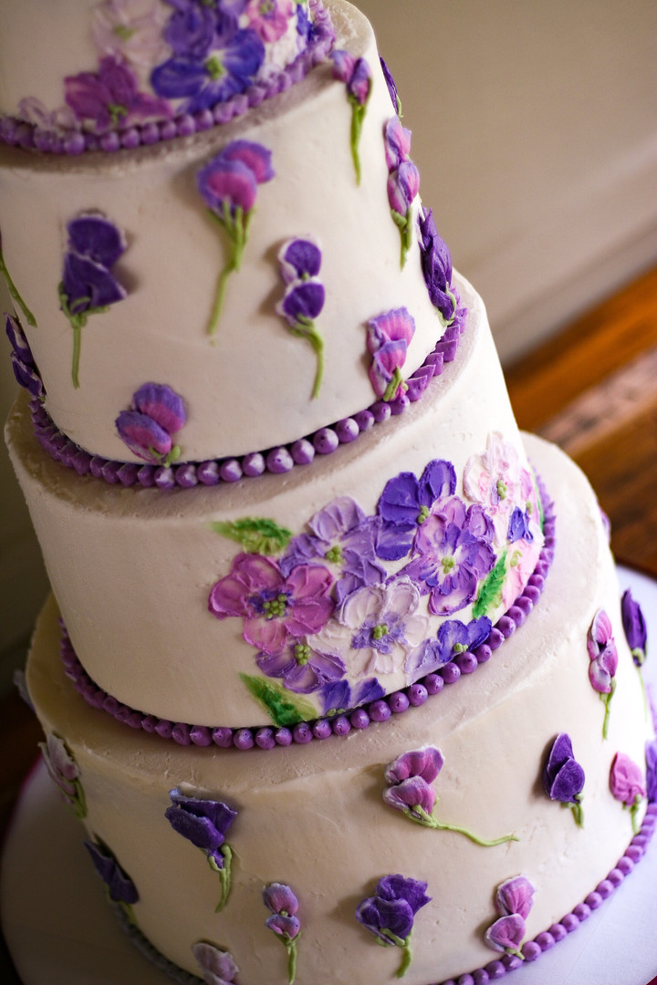 Purple Painted Buttercream Flowers Cake