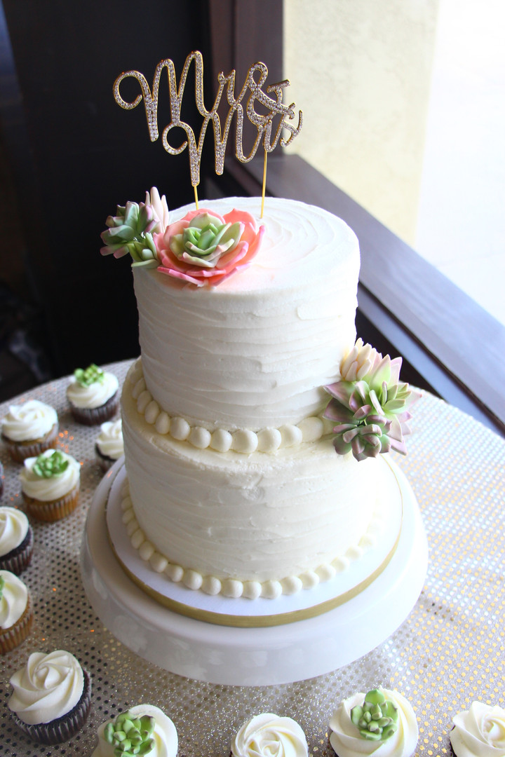 Rustic White Wedding Cake with Succulent