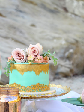 Beach Floral and Gold Wedding Cake