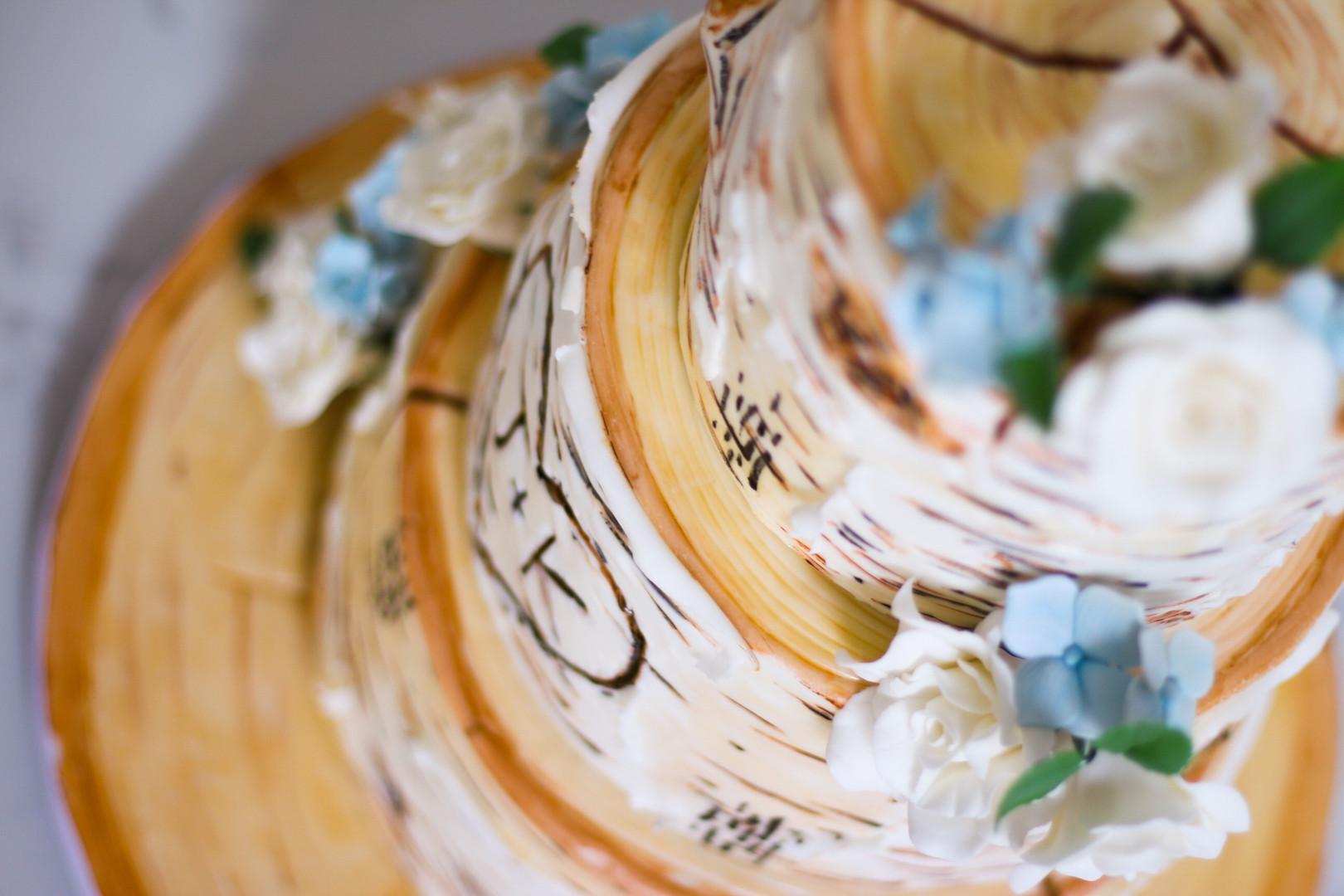 Rustic Realistic Birch Wedding Cake
