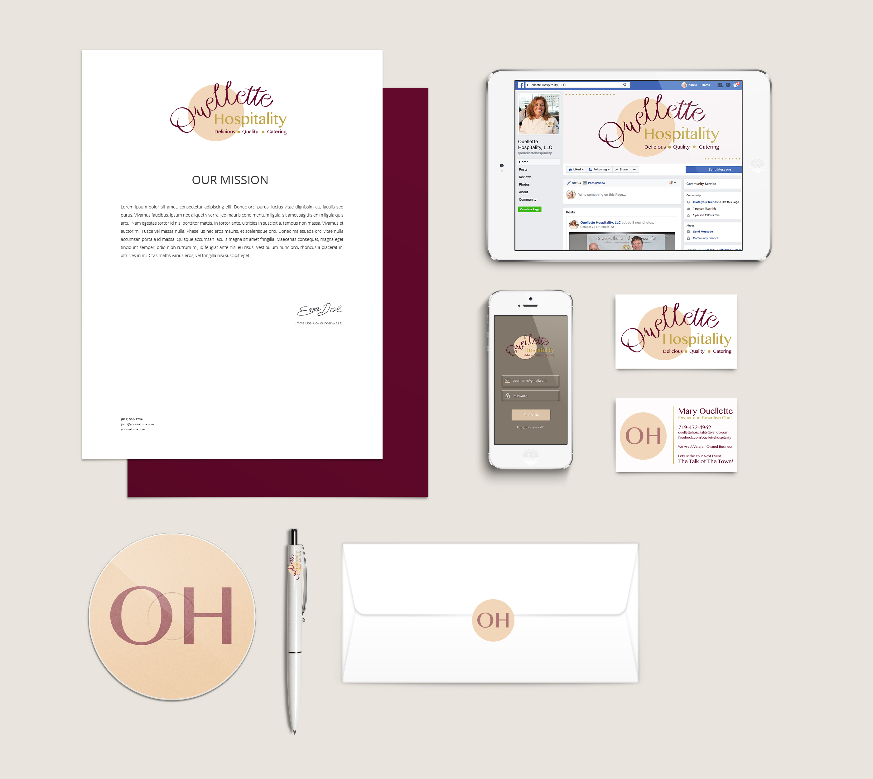Ouellette Catering Branding Package