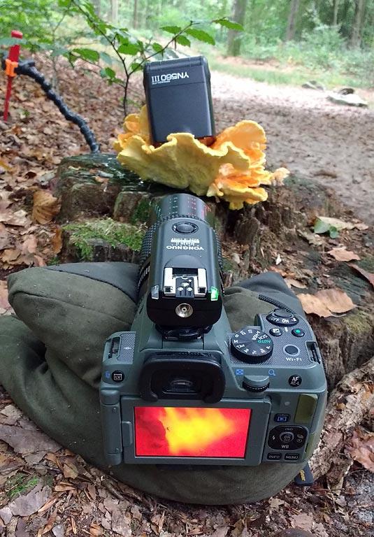De flitser wordt draadloos aangestuurd door de trigger op de camera.