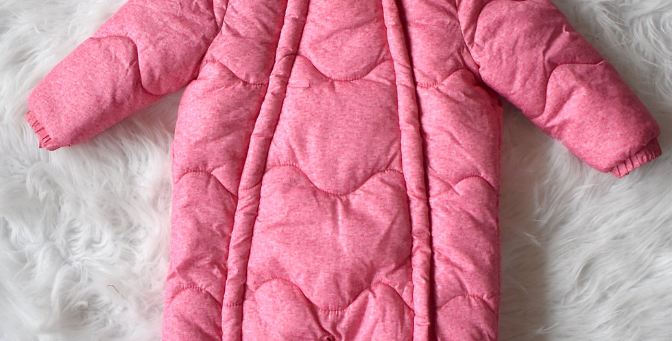 Zateplený ružový overal s kožušinkou
