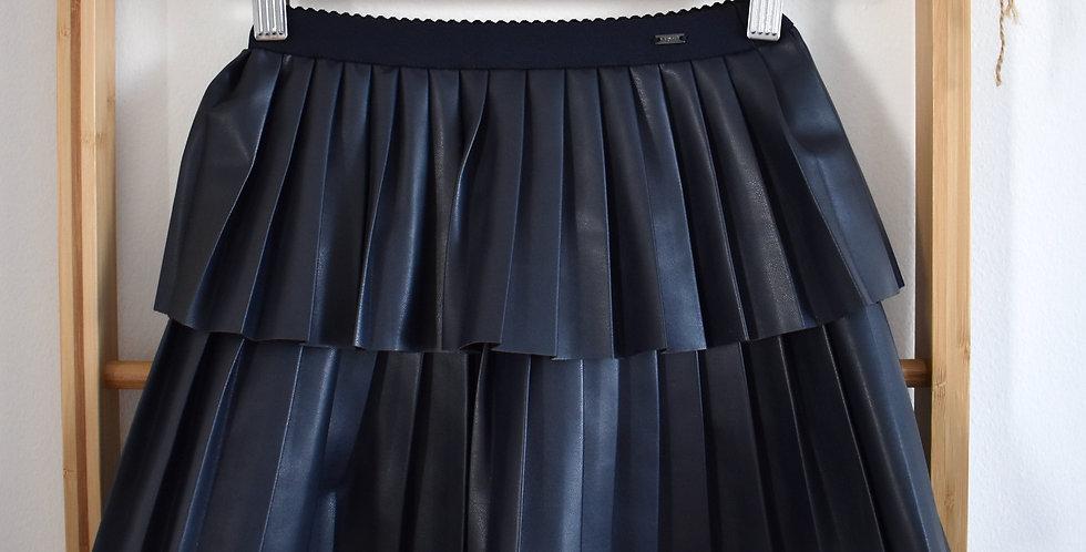 Tmavomodrá koženková sukňa