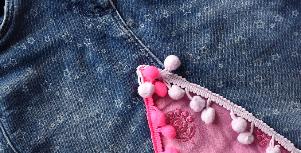 Denim mini sukňa s brmbolcami
