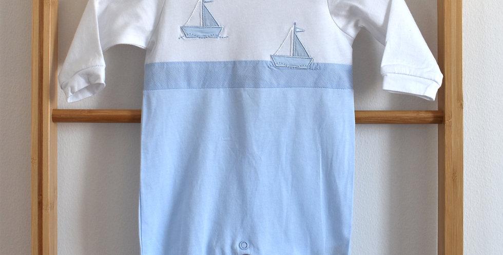 Bielo modré baby pyžamko s lodičkami