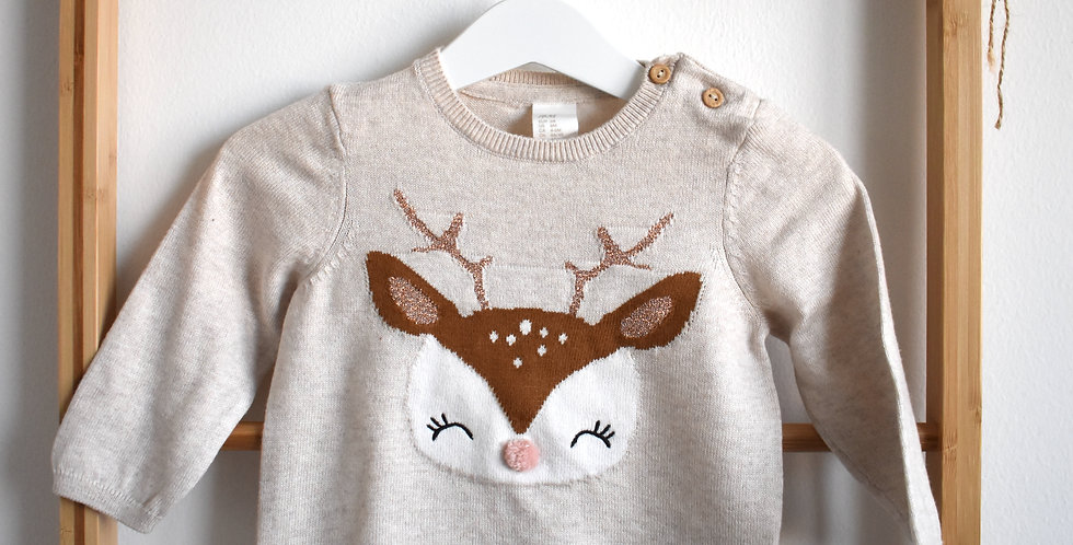 Béžový pletený svetrík so srnkou