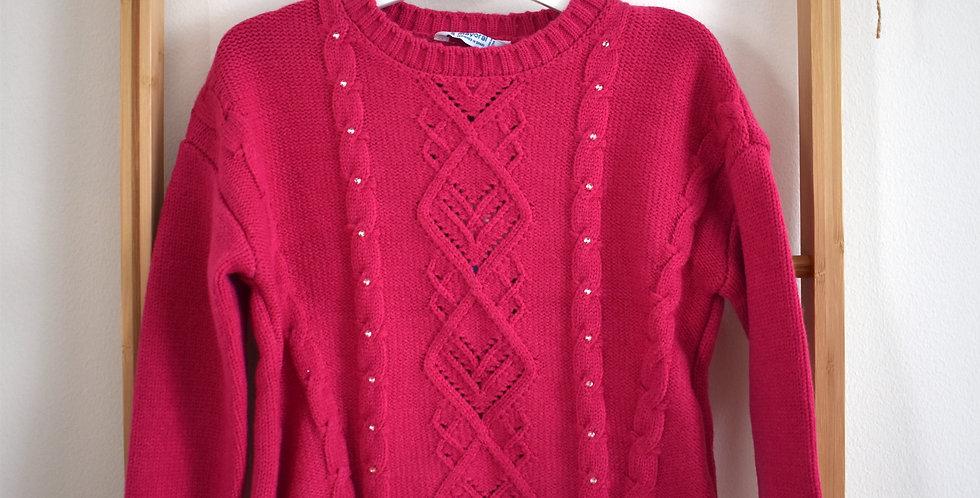 Ružový pletený sveter s trblietkami v strede