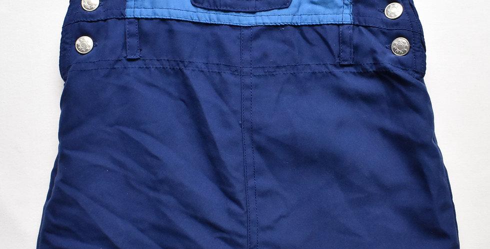 Tmavomodré oteplovačkové nohavice na traky s medvedíkom