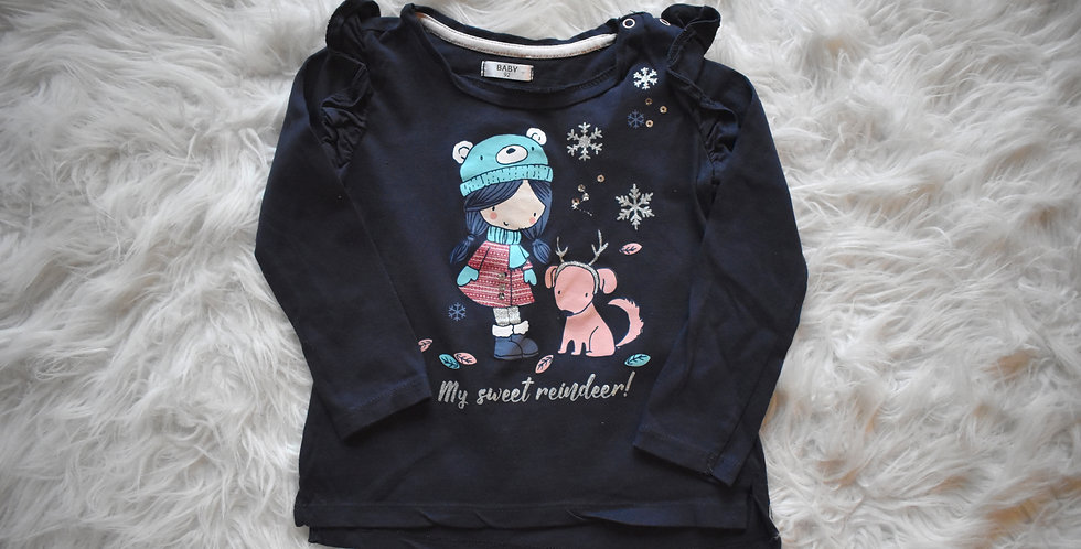 Tričko so zimným motívom a trblietkami