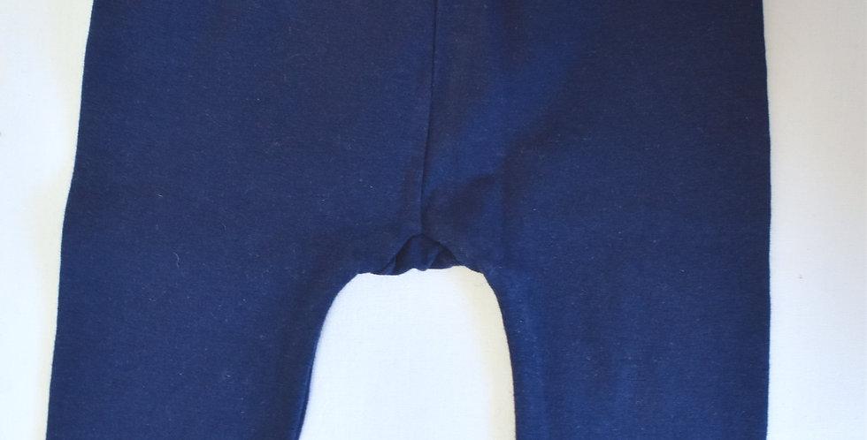 Modré legínky s čipkou na spodku