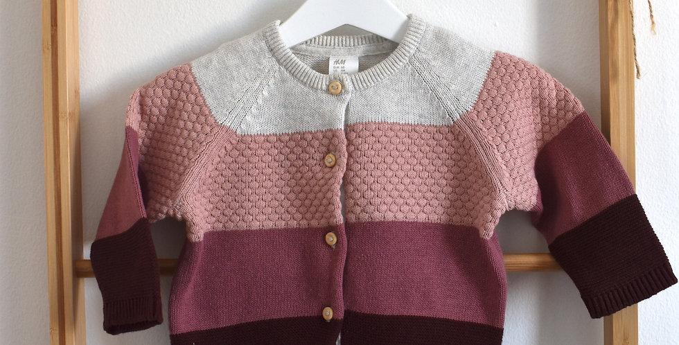 Ružový ombre pletený svetrík na gombíky