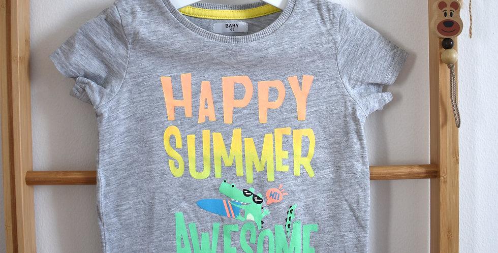 Sivé tričko s nápisom HAPPY SUMMER