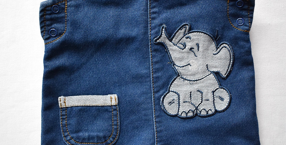 Baby denim nohavice na traky so sloníkom