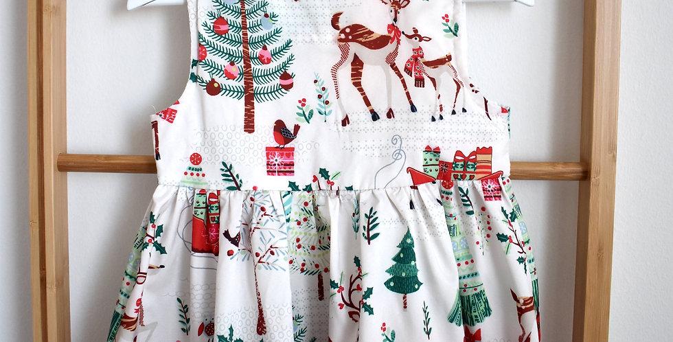 Jemné bledé vianočné šaty na ramienka
