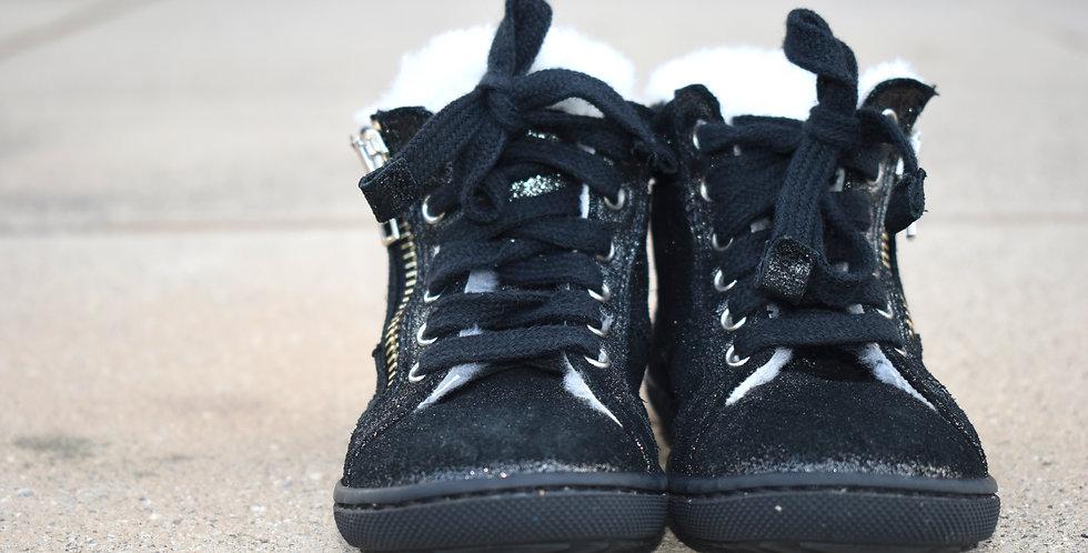 Luxusné čierne zateplené topánky s kožušinou