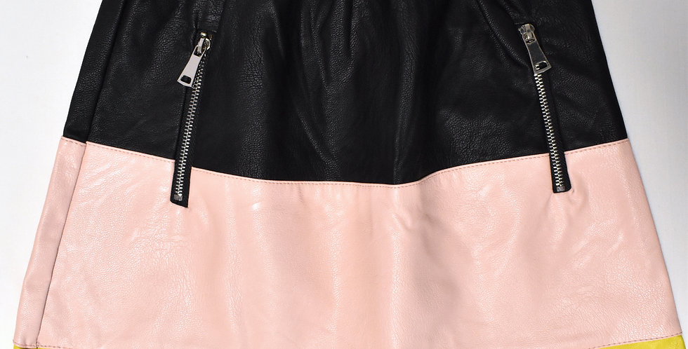 Kožená sukňa Color Block