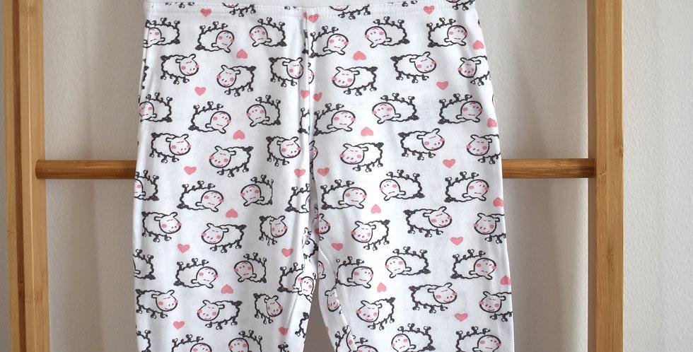 Ovečkové biele teplákové nohavice