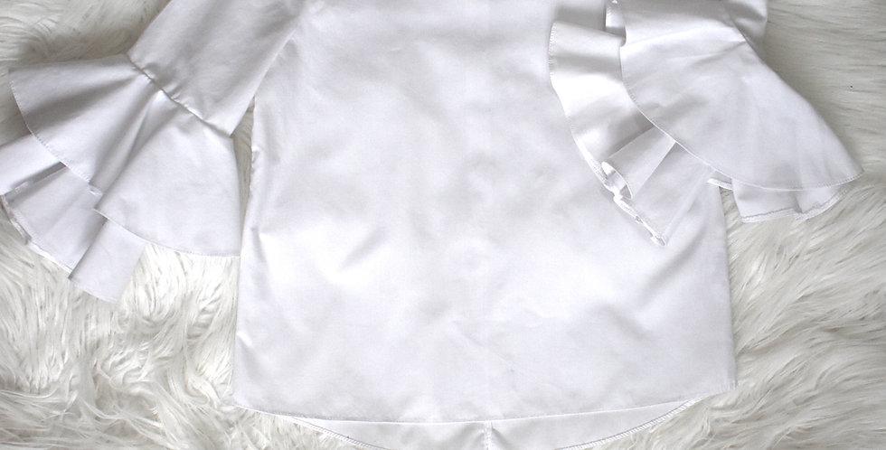 Popelínová košeľa s volánovými rukávmi