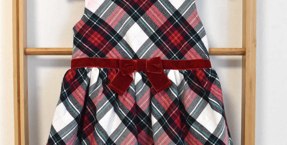 Kárované šaty so zamatovou červenou mašľou