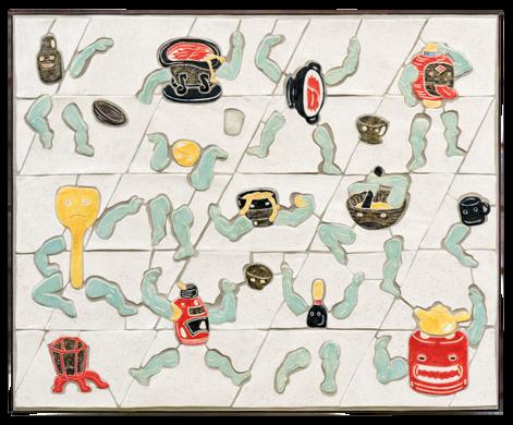 Tsukumogami Tribute 2019  60 x 70 cm Glazed ceramics, tile grout and pine moulding.