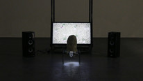 A Tenuous Membrane 2017  Installation view Slade, Woburn Place.  62 x 45 x 160cm  HD monitor, speakers, steel, ceramic.