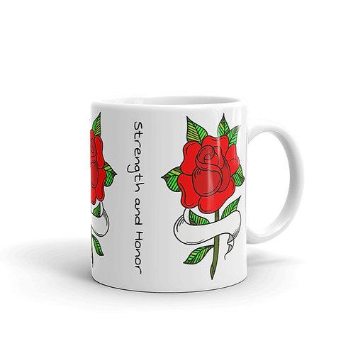 Proverbs 31:25 Scripture Red Rose Mug