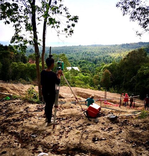 Checking heights by a team of qualified surveyors, casting the concrete foundations of the villa.