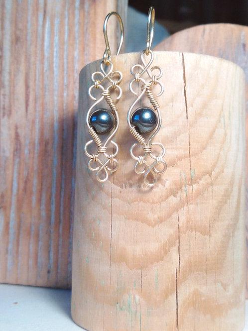 Boucles d'oreilles perles de pierre et laiton