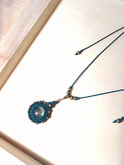 Small labradorite, tiger eye and amethyst pendant