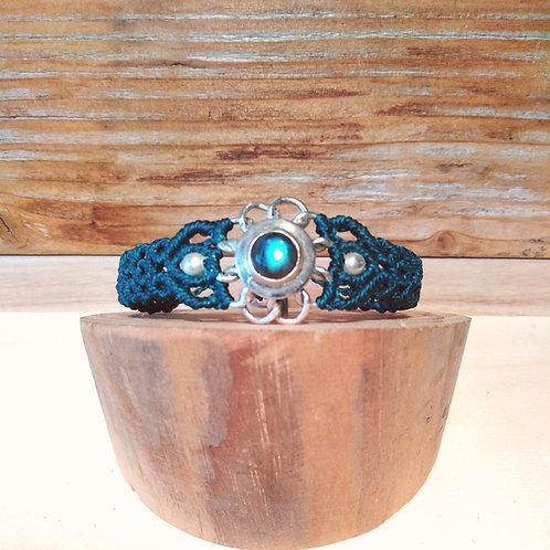 Bracelet macramé et argent.