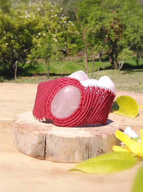 Rose quartz macrame bracelet