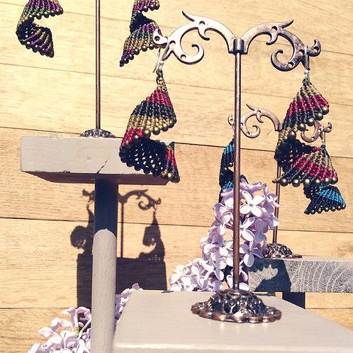 Macrame and brass pearl earrings