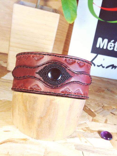 Men's leather and hematite bracelet