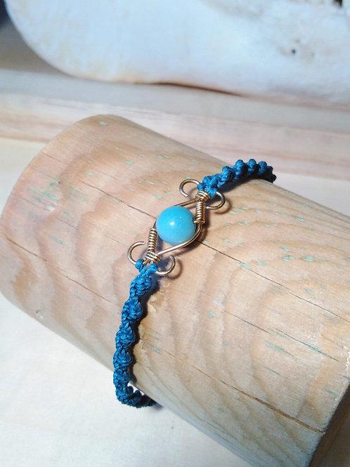 Bracelet laiton et perles semi précieuses