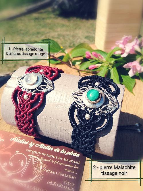 Bracelet en macramé, motif argent 925 et pierre fine
