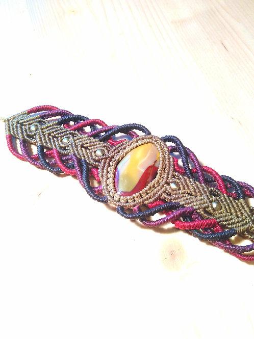 Bracelet macramé et jaspe mookaite