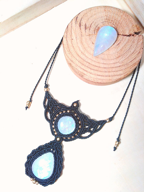 Collier double pierre de lune