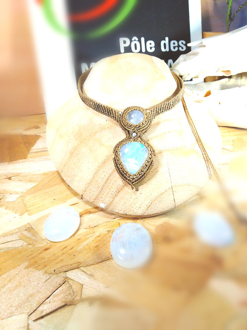 Moonstone (white Labradorite) and silver necklace