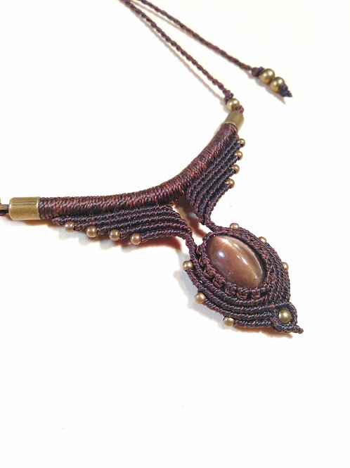 Macrame and star sunstone necklace
