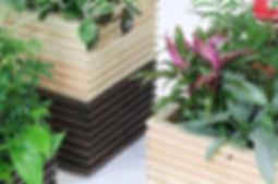 植物リース、国産ヒノキをしよ使用した、鉢カバー