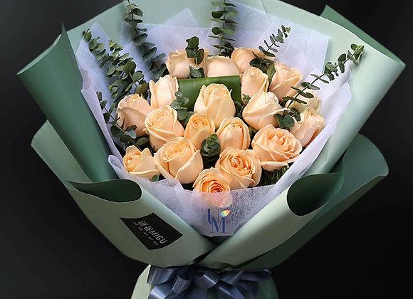 香檳玫瑰花束 Champagne Roses Bouquet