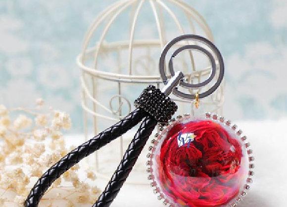 Preserved flower crystal ball Garden Rose in Red 庭園玫瑰永生花球鎖匙扣/保鮮花球鎖匙扣