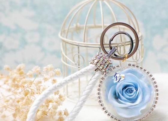 Preserved flower crystal ball rose in blue 玫瑰永生花球鎖匙扣/保鮮花球鎖匙扣
